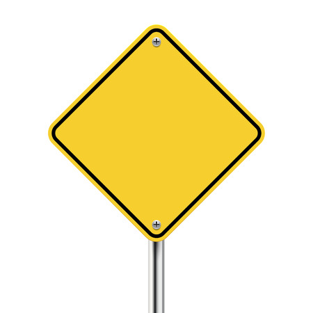 Illustration pour 3d blank yellow road sign on white - image libre de droit