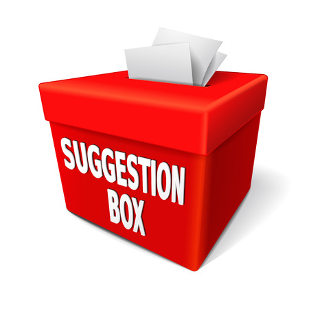 Illustration pour a red suggestion box with notes of paper stuffed into its slot offering feedback - image libre de droit