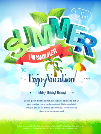 Illustration pour bright i love summer poster in green and blue tones   - image libre de droit