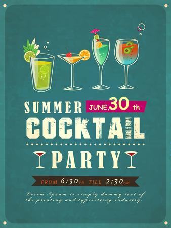 Ilustración de retro style summer cocktail party poster template  - Imagen libre de derechos