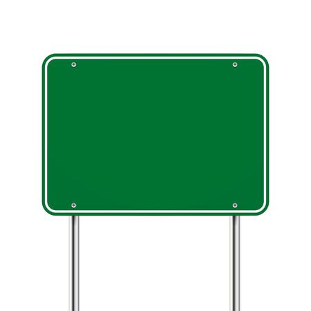 Ilustración de blank green road sign over white background - Imagen libre de derechos