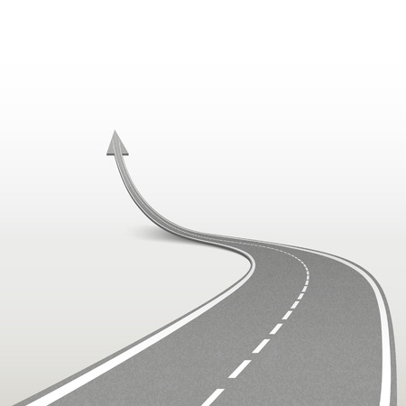 Illustration for winding road in arrow shape isolated over white background - Royalty Free Image