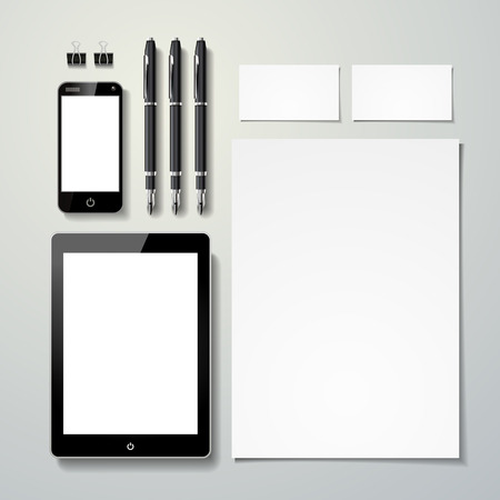 Illustration for blank stationery set template isolated on grey  - Royalty Free Image