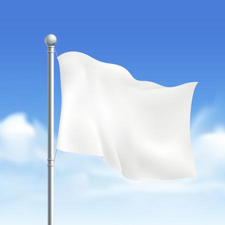 Ilustración de blank white flag isolated on white background - Imagen libre de derechos