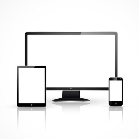 Illustration pour device set that includes TV, tablet, smart phone and laptop - image libre de droit