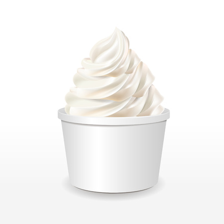 Illustration for blank paper cup with milk ice cream isolated over white background - Royalty Free Image