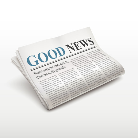 Illustration for good news words on newspaper over white background - Royalty Free Image
