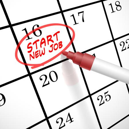 Illustration pour start new job words circle marked on a calendar by a red pen - image libre de droit