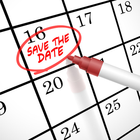 Illustration pour save the date words circle marked on a calendar by a red pen - image libre de droit