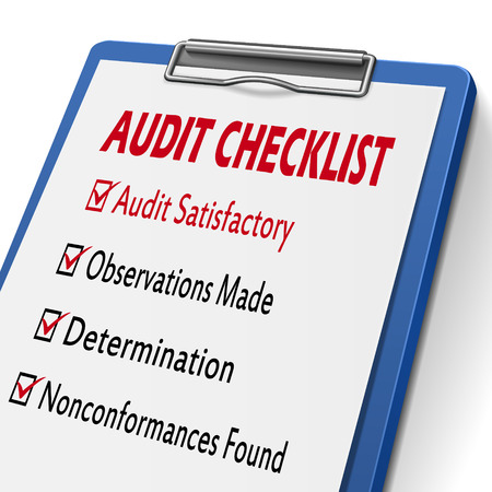 Illustration pour audit checklist clipboard with check boxes marked for related concepts - image libre de droit