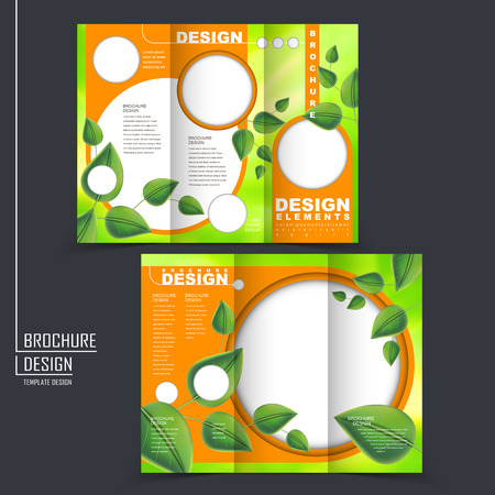 Illustration pour ecology concept tri-fold template brochure with leaf element in green and orange - image libre de droit