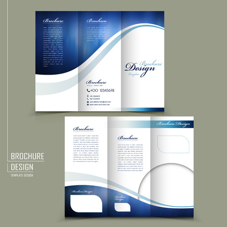 Ilustración de modern style tri-fold template for business advertising brochure in blue - Imagen libre de derechos
