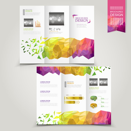 Ilustración de modern template for advertising concept brochure with geometric shapes element - Imagen libre de derechos