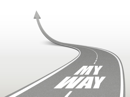 Illustration pour my way words on highway road going up as an arrow - image libre de droit