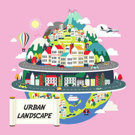 Illustration pour flat design for the urban landscape graphic  - image libre de droit