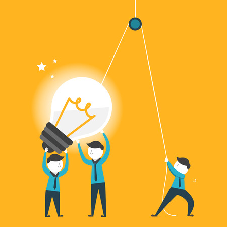 Ilustración de flat design for team work concept graphic over yellow  - Imagen libre de derechos
