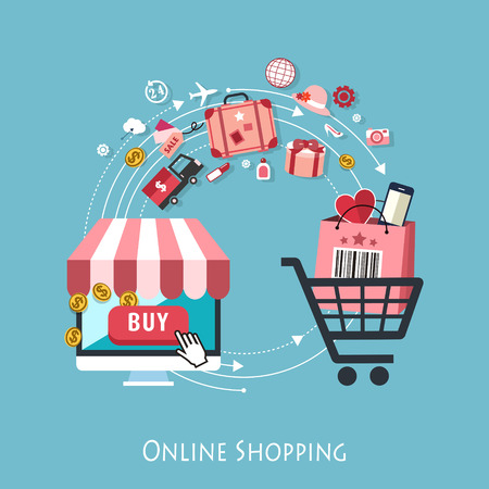 Ilustración de flat design for online shopping concept graphic - Imagen libre de derechos