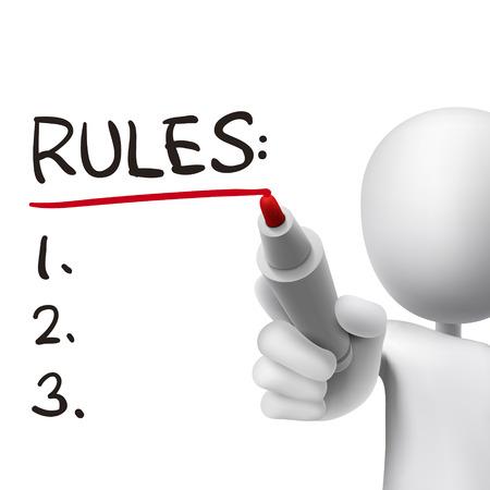 Illustration pour rules word written by 3d man over white  - image libre de droit