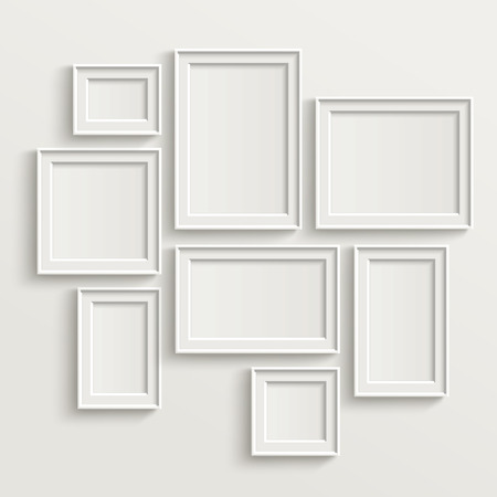 Ilustración de blank picture frame template set isolated on wall - Imagen libre de derechos