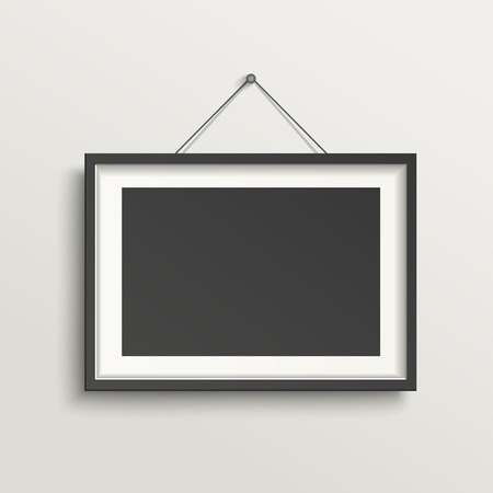 Illustration pour blank picture frame template hanging on wall - image libre de droit