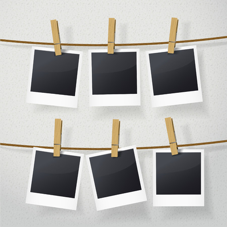 Illustration pour blank photo frames on rope over white background - image libre de droit