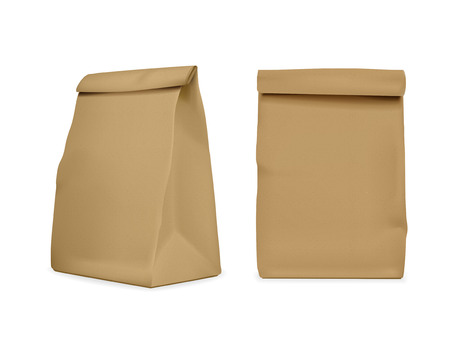 Illustration for blank paper bag set isolated on white - Royalty Free Image