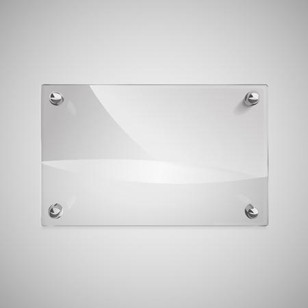 Illustration pour blank glass framework with metal rivets on wall - image libre de droit