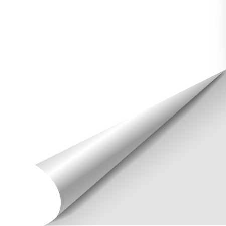 Illustration pour blank sheet of paper with page curl over white - image libre de droit