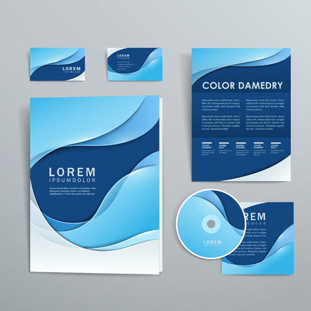 Ilustración de abstract smooth curve lines background corporate identity set  - Imagen libre de derechos