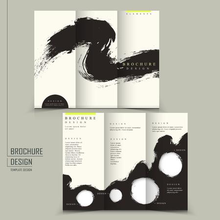 Illustration pour tri fold Chinese calligraphy style business brochure template  - image libre de droit