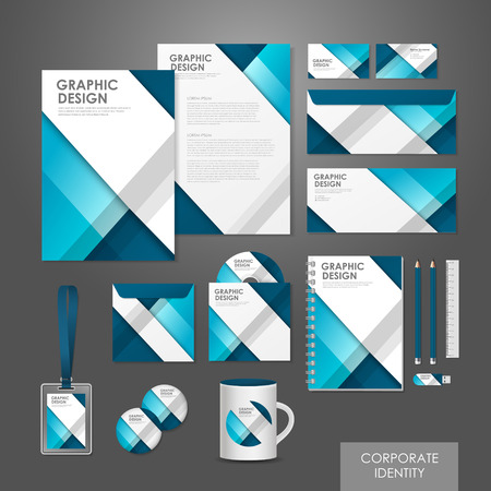 Ilustración de abstract creative corporate identity set template in blue  - Imagen libre de derechos