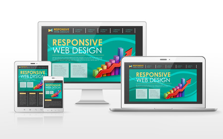 Illustration for responsive web design concept in flat screen TV, tablet, smart phone and laptop - Royalty Free Image