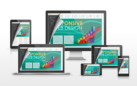 Ilustración de responsive web design concept in flat screen TV, tablet, smart phone and laptop - Imagen libre de derechos
