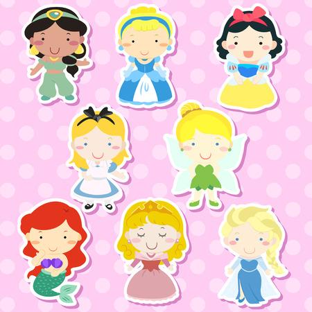 Ilustración de lovely fairy tale characters set over pink background - Imagen libre de derechos