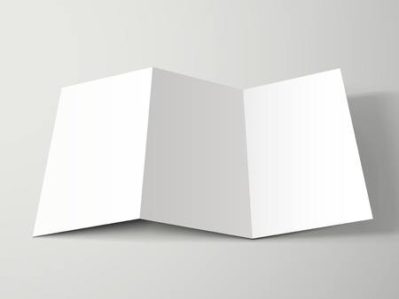 Illustration for blank tri-fold brochure design isolated on grey - Royalty Free Image