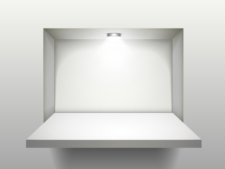 Illustration pour empty shelf with illumination isolated over the wall - image libre de droit