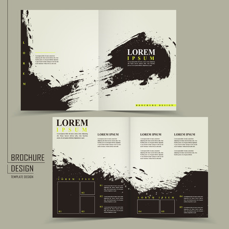 Ilustración de abstract Chinese calligraphy design for half-fold brochure template - Imagen libre de derechos