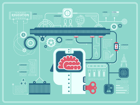 Illustration pour lab experiment education infographic in flat design - image libre de droit