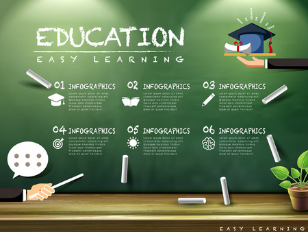 Ilustración de education infographic design with blackboard and chalk elements - Imagen libre de derechos