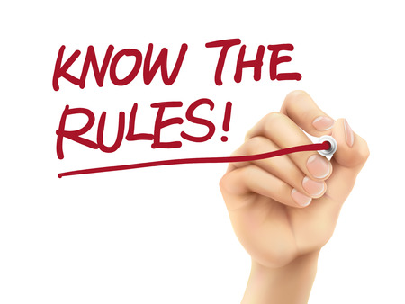 Illustration pour know the rules words written by 3d hand over white background - image libre de droit