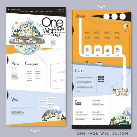 Illustration pour travel style one page website template in flat design - image libre de droit