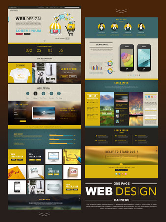 Illustration for business style one page website design template - Royalty Free Image