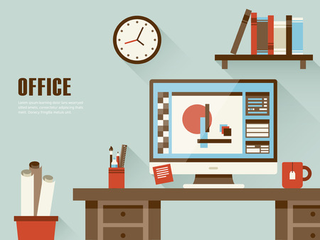 Ilustración de interior of working place concept in flat design - Imagen libre de derechos