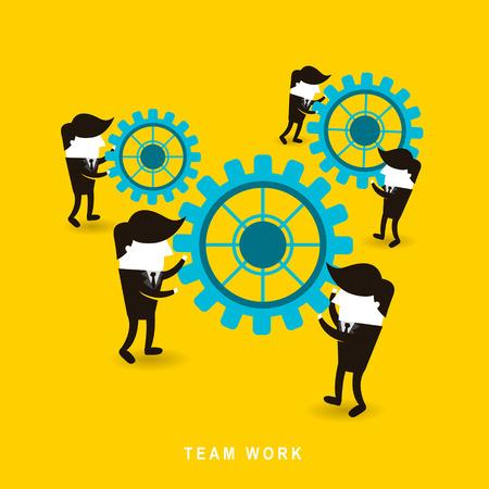 Ilustración de flat design of businessmen team work over yellow background - Imagen libre de derechos