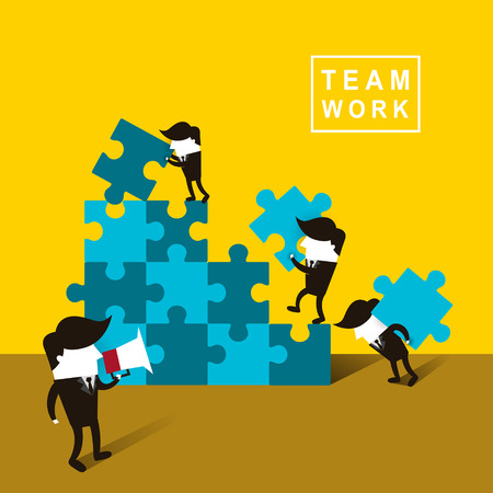 Ilustración de flat design of businessmen team work over yellow background - Imagen libre de derechos