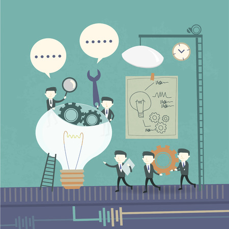 Illustrazione per team work concept with cogwheel and businessmen elements - Immagini Royalty Free