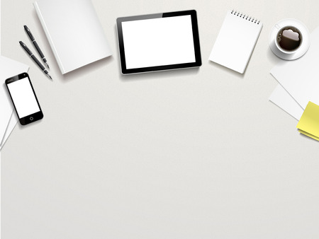 Ilustración de top view of working place elements on white table - Imagen libre de derechos
