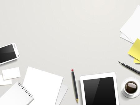 Illustration pour top view of working place elements over white table - image libre de droit