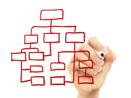 Ilustración de organization chart drawn by hand on a transparent board - Imagen libre de derechos