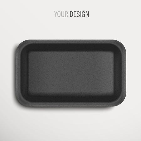 Illustration pour empty black food tray over white background - image libre de droit